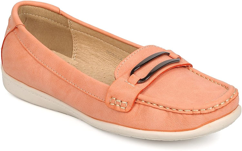 BETANI FK78 Women Leatherette Round Toe Slip On Penny Bar Loafer - orange