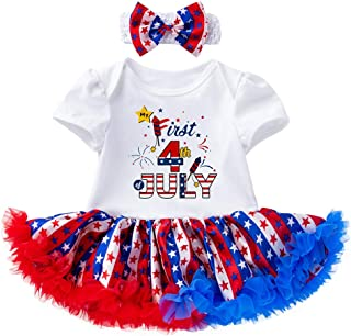 Baby Girl Short Sleeve Independence Day Letter Printed Lapel Puffy Princess Dress Two-Piece Set, (3-18 Month)