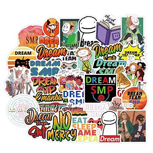 upain 50Pcs Anime Dream SMP Vinyl Stickers Laptop Water Bottles Phone Case Water Bottle Decals Motorcycle Bumper Graffiti, Best Gift for Kids Children