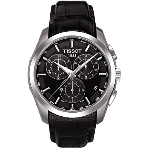 TissotT035.617.16.051.00 Mens Couturier Black Leather Swiss Quartz Watch with Black Dial