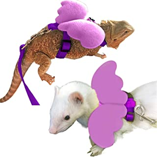 FunPetLife Small Pet Animal Harness and Leash Angel Wings for Bearded Dragon Reptile Lizard Gecko Baby Ferret Chinchilla Mouse Chipmunk Squirrel Gerbil Degu Rat
