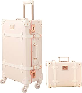 Travel Vintage Luggage Sets Cute Trolley Suitcases Set Lightweight Trunk Retro Style for Women Rose White 20""