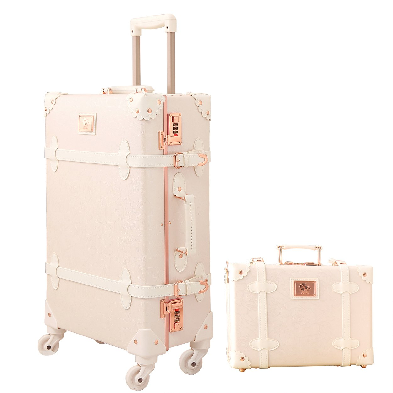 Vintage Luggage Trolley Suitcases Lightweight