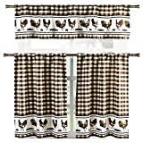 Elegant Linens Country Home Plaid Buffalo Check Gingham Farmhouse Rooster Kitchen Curtain Tier & Valance Set - Assorted Colors (Coffee)