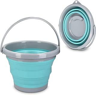 Navaris Cubo Plegable 5 litros - Balde Plegable con asa ø 28CM y 19CM de Altura - Barreño Flexible y Compacto para Camping de Color Azul y Gris