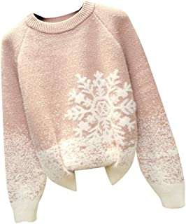 iLOOSKR Christmas Warm Knitted Sweater Women Comfy Slim Solid Snowflake Printing Sweater Pullover Tops