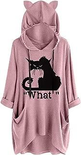 LENXH Women's Hooded Top Print T-Shirt Long Sleeve Blouse Irregular Top Casual Tees Fashion Blouse