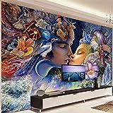 Hhkkckカスタム3D壁紙現代クリエイティブカップルキャラクター油絵ファンタジー写真壁の壁画リビングルームテレビの背景壁紙-120X100Cm