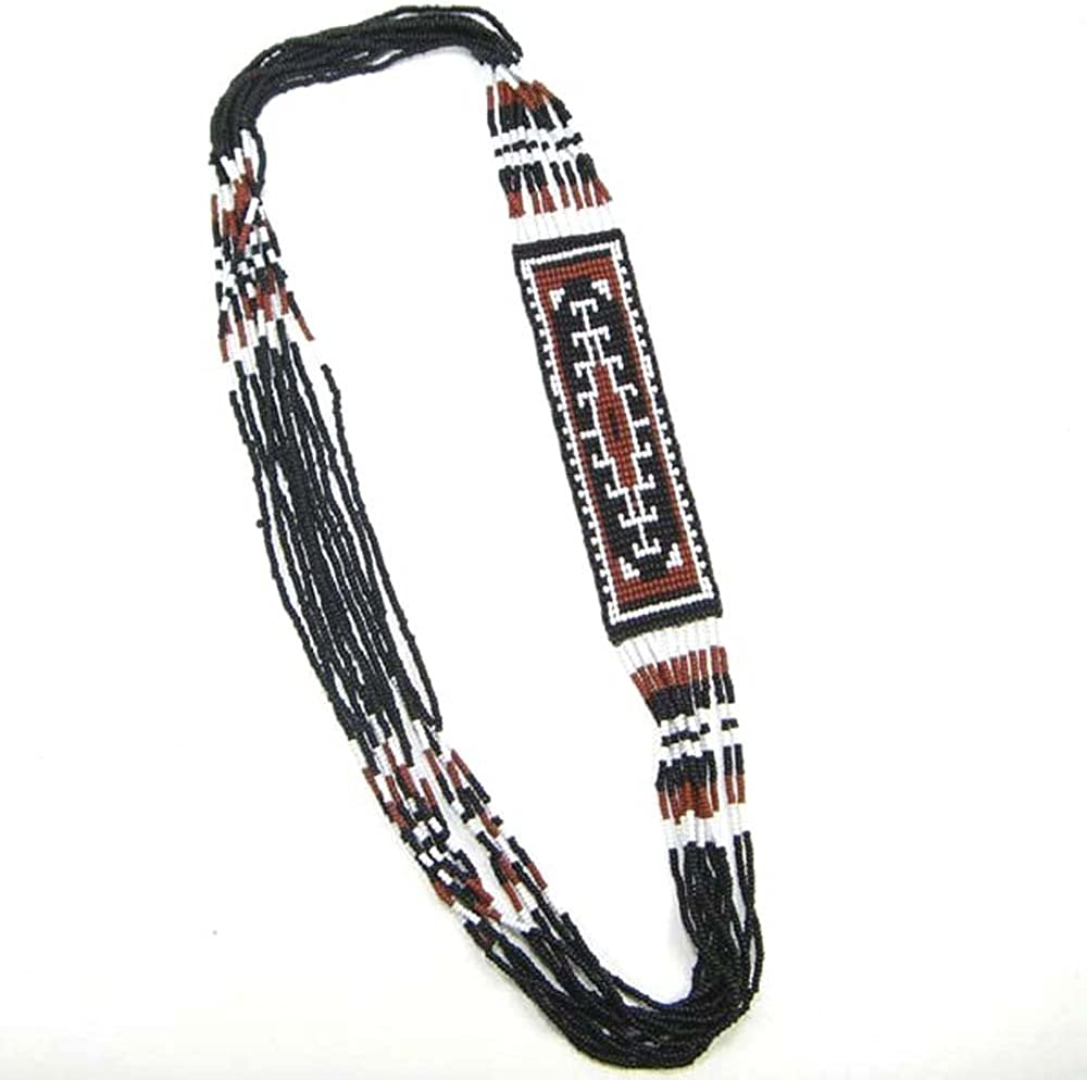 HANDMADE BEADED INDIAN FASHION JEWELRY NATIVE STYLE SEED BEADS LONG NECKLACE EARRINGS S-18-SB-9