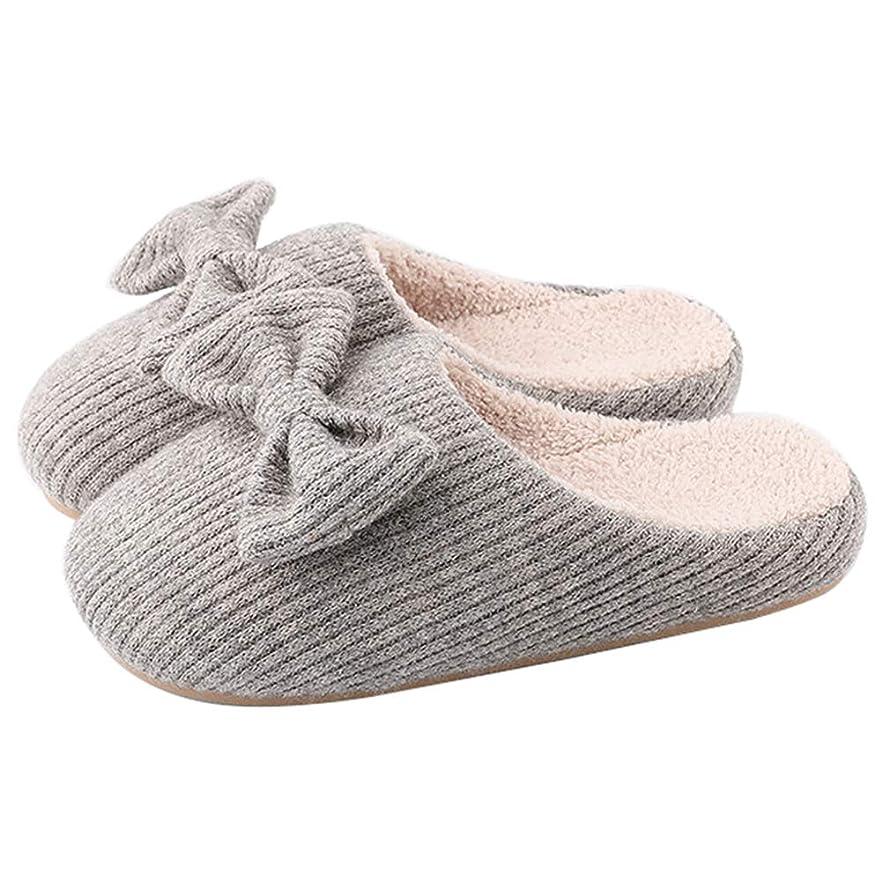 一人で忠実に基礎家のスリッパの女性の編む偶然の甘い弓の滑り止めの短いプラシ天は暖かい居心地の良い屋内屋外の家の靴を並べる