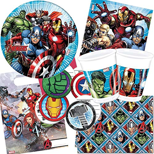 101-tlg. * MIGHTY AVENGERS * PARTY SET für Kindergeburtstag | mit Teller + Becher + Servietten + Einladungen + Partytüten + Tischdecke + Deko | Superhelden Marvel Iron Man Hulk Thor Captain America