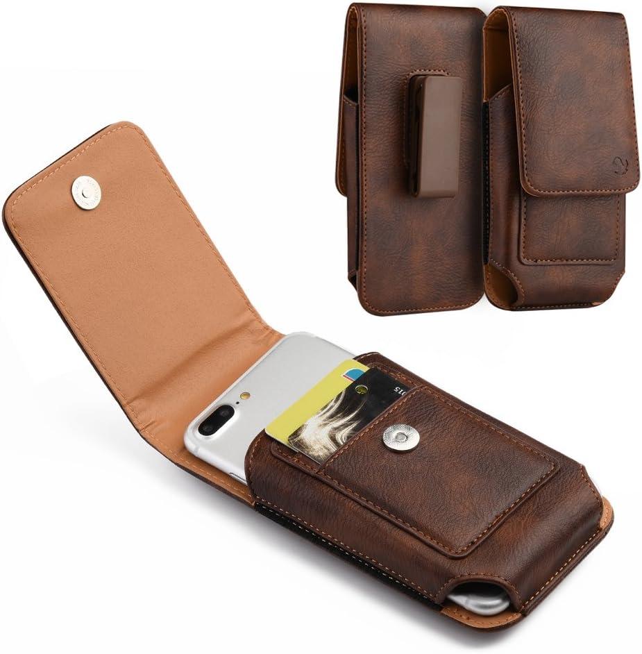 Brown Leather Belt Clip Holster Case w/ 2 Credit Cards Slot for Kyocera DuraForce Pro 2, DuraForce Pro