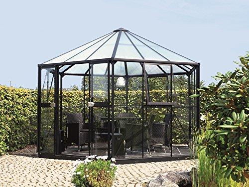 Gartenwelt Riegelsberger Gewächshaus Hera - Ausführung: 9000 Kombi ESG 3 mm und HKP 6 mm schwarz, Fläche: ca. 9 m², mit 3 Dachfenster, Sockelmaß: 2,53 x 2,21 m