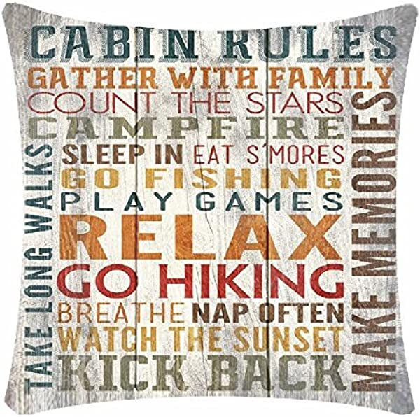 Retro Vintage Cabin Rules Gather With Family Kick Back Cotton Linen Decorative Throw Pillow Case Cushion Cover Square 18 X18