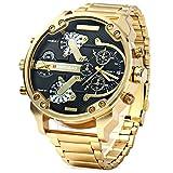 FENKOO Hombre Militar Reloj Quartz Calendario/Tiempo Dual Zonas Acero Inoxidable Banda Reloj de Pulsera Oro (Negro)