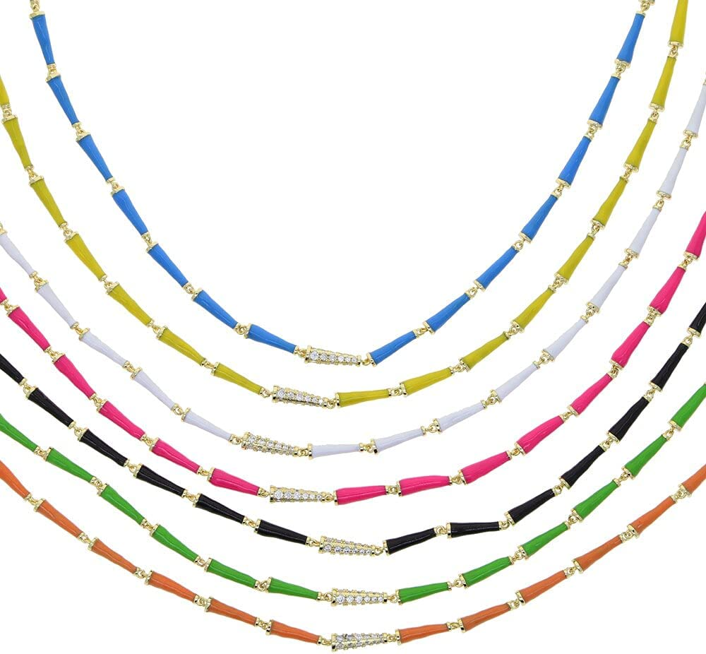 TonyJameJPStore 7 Colors white black green blue yellow orange pink colorful candy Neon enamel spiked bead link chain choker necklace