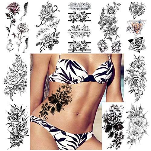 LAROI 10 Feuilles 3D Sexy Rose Fleur Tatouage Temporaire Femme Autocollant Filles Imperméable À L'eau Faux Tatouage Adultes Grand Corps Peinture Bijoux Plume Feuille Pivoine Tatouage éphémère Tattoos