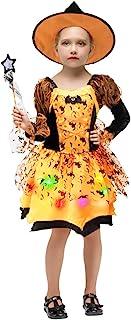 Déguisement Halloween Fille Lumineux Costume Sorcière Enfant Robe+Chapeau+Baguette Magique+Sac à Bonbon Cosplay (7-9 ans)