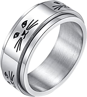 ALEXTINA Men's Women's Stress Relief Stainless Steel 8MM Spinner Ring Animal Cat Band
