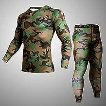 JJZZ Thermo-Unterwäsche für Herren Compression Run Jogginganzüge Fitness Herren Sets Camouflage Compression Shirts + Leggings Base Layer