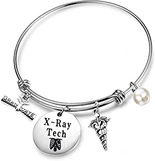 FEELMEM Graduation Gift Radiologist Gift X-Ray Tech Bangle Bracelet with Caduceus Charm Radiology Tech Jewelry Graduation Jewelry Gift for Radiographer Future X-Ray Tech Technician