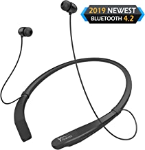 $22 » Yuwiss Bluetooth Headphones Neckband V4.2 Lightweight Wireless Headset Call Vibrate Alert Sport Earbuds w/Mic Earphones 10-Hour Playtime for Gym Running Compatible with iPhone Samsung Android (Black)