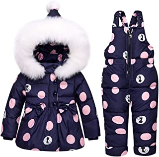 LSERVER Infant Toddler Girl Pink Down Coat Snowsuit Warm Jacket with Snow Ski Bib Pants Jumpsuit 1-3T