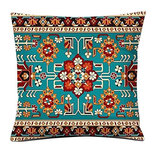 Rosepoem Funda de cojín con estampado de alfombra turca, funda de almohada decorativa para el hogar para hombres/mujeres sala de estar dormitorio sofá almohada 45 x 45 cm Style3
