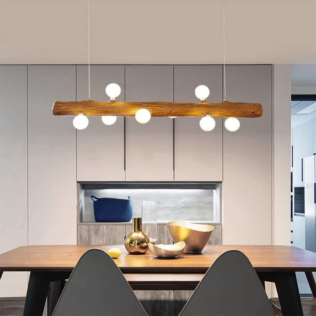 LED Pendant Light Made of Wood Rustic Dining Table Pendant Light ...