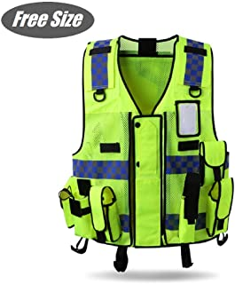 HYCOPROT Reflective Safety Security Vest, High Visibility Mesh Adjustable Tactical Traffic Police Construction Heavy Duty Utility Premium Vests with Multi Pockets, Free Size (Free Size, Neon Yellow)