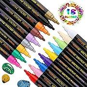 YITHINC Steine Bemalen Stifte Set, 18 Farben Acrylstifte Marker Stifte für Malerei auf Keramik, Porzellan, Glas, Stein,und DIY-Becher-Entwurf,Mittelgroße Spitze [Schnelltrocknend]