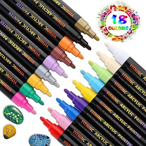YITHINC Steine Bemalen Stifte Set,18 Farben Acrylstifte Marker Stifte für Malerei auf Keramik, Porzellan, Glas, Stein,und DIY-Becher-Entwurf,Mittelgroße Spitze [Schnelltrocknend]