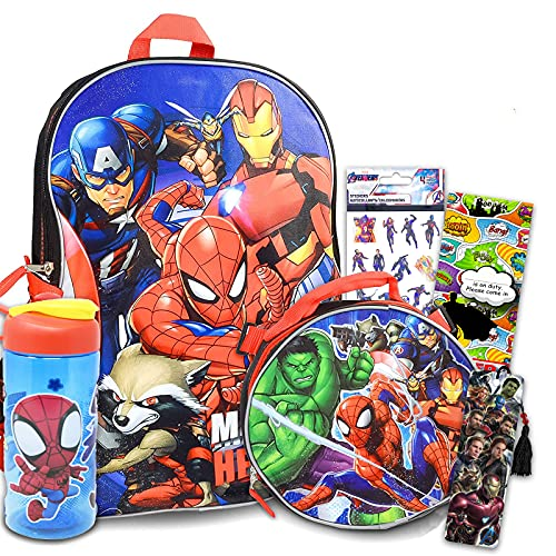 Marvel Avengers Backpack for Boys Girls Kids - 7 Pc Bundle With 16' Superhero School Bag, Lunch Bag, Water Bottle, Stickers, And More (Avengers School Supplies)