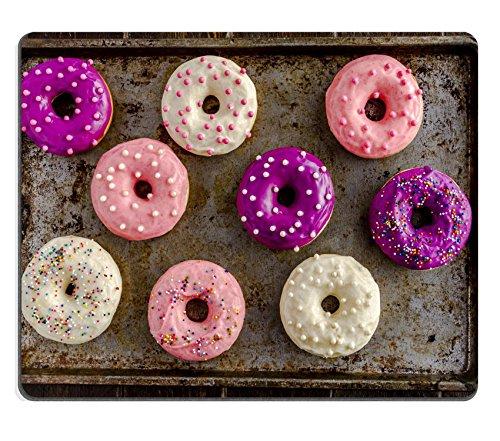 MSD Caucho Natural Alfombrilla para ratón Imagen ID 35479828Surtido de puf de Vainilla casero Donuts con glaseado de Colores Sentado sobre Metal Molde para Hornear
