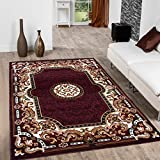 Allstar 8x10 Burgundy and Mocha Classic French Country Machine Carved Effect Rectangular Accent Rug with Ivory and Espresso Bordered Medallion Design (7' 9' x 10' 1')
