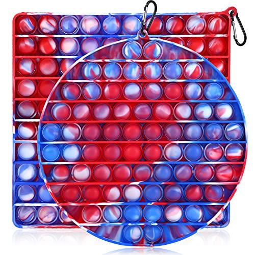 GOHEYI Big Size Push Pop Bubble Fidget Sensory Toy, 2 Pack Tie-dye Jumbo Pop its Fidget Toys, Large 100 Bubbles Relieve Stress Fidget Silicone Toy, Giant Squeeze Sensory Tools for Kids Adults