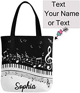 Custom Abstract Piano keys Music Canvas Tote Bag Handbag,Reusable Casual Shoulder Work Travel Shopping Bag