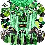 Juego de suministros para fiesta de cumpleaños, incluye decoración colgante, pompones de papel, cortina de espumillón y suministros para fiestas de videojuegos para niños y niños