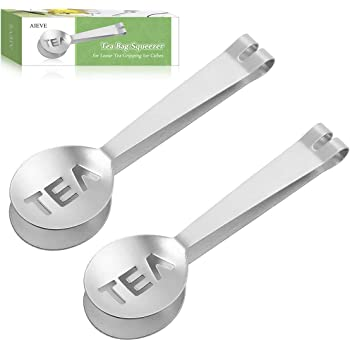 AIEVE Tea Bag Squeezer, 2 Pack Stainless Steel Tea Bag Tongs Tea Bag Holder Tea Bag Spoon Tea Bag Strainer for Gripping Ice Cubes Tea Bags for Loose Tea Gripping Ice Cubes, Silver