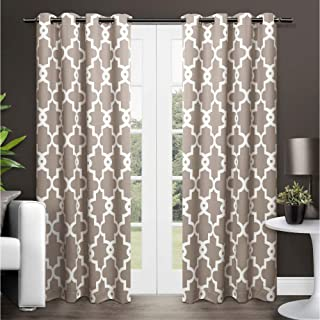 Exclusive Home Curtains Ironwork Sateen Woven Blackout Window Curtain Panel Pair with Grommet Top, 52x84, Taupe, 2 Piece
