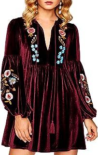 Aofur المرأة البوهيمية خمر مطرز المخملية الربيع التحول البسيطة اللباس طويل الأكمام عارضة بلايز بلوزة