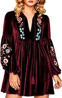 Aofur Women Bohemian Vintage Embroidered Velvet Spring Shift Mini Dress Long Sleeve Casual Tops Blouse