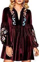 Aofur Women Bohemian Vintage Embroidered Velvet Spring Shift Mini Dress Long Sleeve Casual Tops Blouse