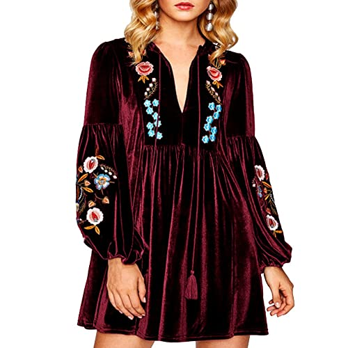30f538e1285337 Aofur Women Bohemian Vintage Embroidered Velvet Spring Shift Mini Dress  Long Sleeve Casual Tops Blouse