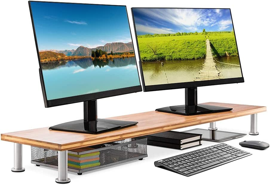 Sturdy Wood Dual Monitor Riser Stand for Desk, 40 in Long Large Bamboo 2 Monitor Supports Desktop Stand Organizer for Office Desk Accessories & TV Stands (Natural)