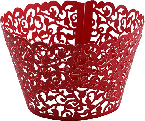 DriewWedding 100PCs Vine Designed Hollow Artistic Bake Cake Cupcake Wrappers Paper Cups Liner for Wedding Birthday Tea Party Baby Shower Food Decoration (Red)