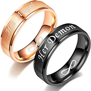 His Angel/Her Demon Love Infinity Relationship Ring Stainless Steel Engagement Wedding Band for Women Men