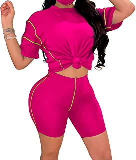 Women's 2 Piece Shorts Tracksuit Sexy Outfits Crop Top Shorts Set