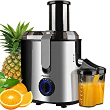 Juicer, Picberm Centrifugal Juicer Machines Easy to Clean, Wide Mouth Juice Extractor with Peeler, Brush & Recipes for Whole Fruits and Vegetables, Dual Speed Stainless Steel BPA-Free Juicers Dishwasher Safe, 800 W