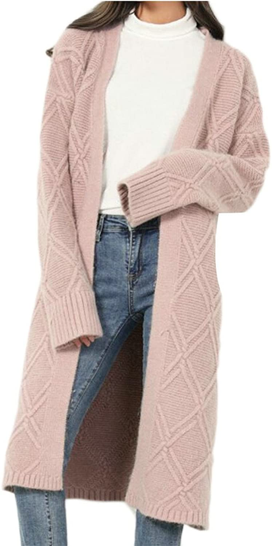 Gocgt Womens Fashion Open Front Long Sleeve Long Cardigans Knit Sweater Coat